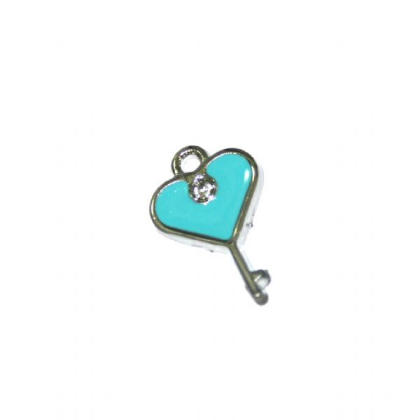 1 x 19*14mm rhodium plated light blue lock key with heart enamel charm - SD03 - CHE1111